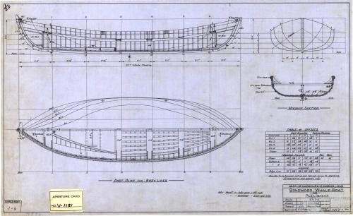 Whale boat plan, 1950
