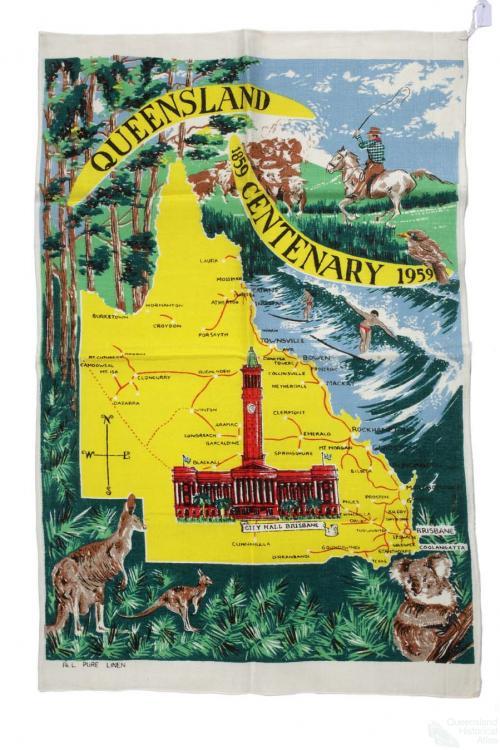 Tea-towel: Queensland Centenary, 1959