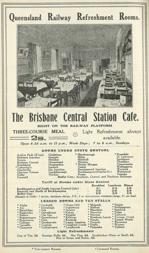 Advertisement showing list of Refreshment Rooms, Queensland, 1925