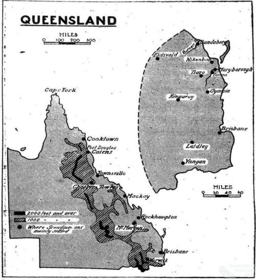 Major settlements of Scandinavians in 19th century Queensland