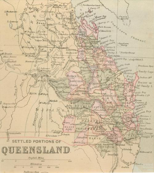 Settled portions of Queensland, 1880