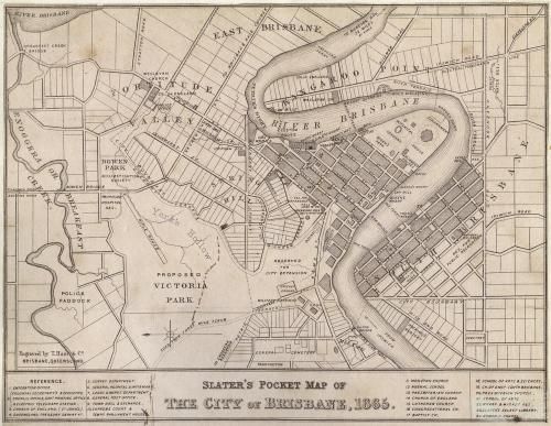 Slater's pocket map of Brisbane, 1865