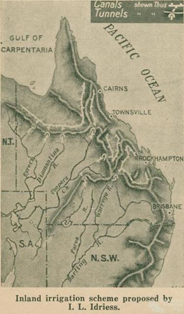 Inland irrigation scheme proposed by Ion Idriess, Walkabout, January 1947