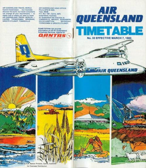 Air Queensland timetable, 1982