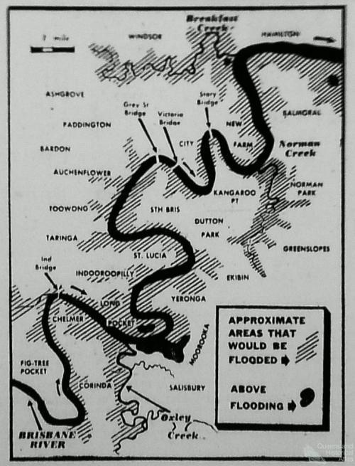 Brisbane River flood map, 1953