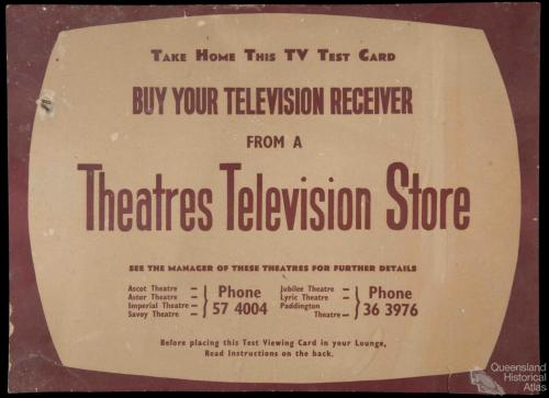 Television test viewing card