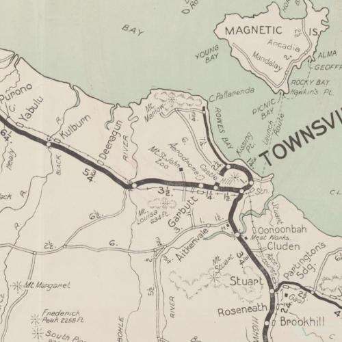 Map, RACQ Townsville tourist district map, c1950