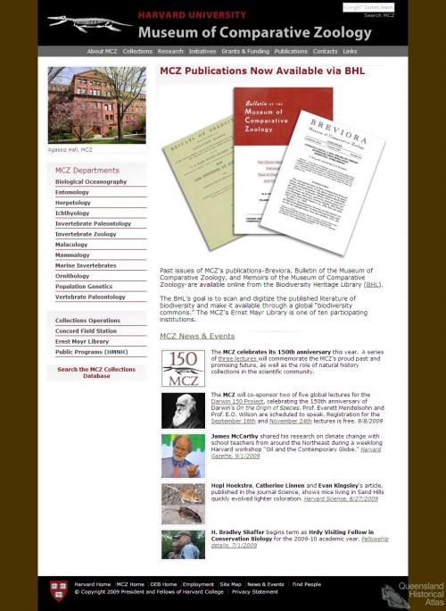 Harvard University Museum of Comparative Zoology, 2009