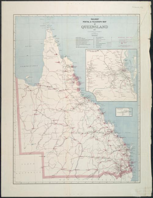 Railway, postal and telegraph map of Queensland, 1888