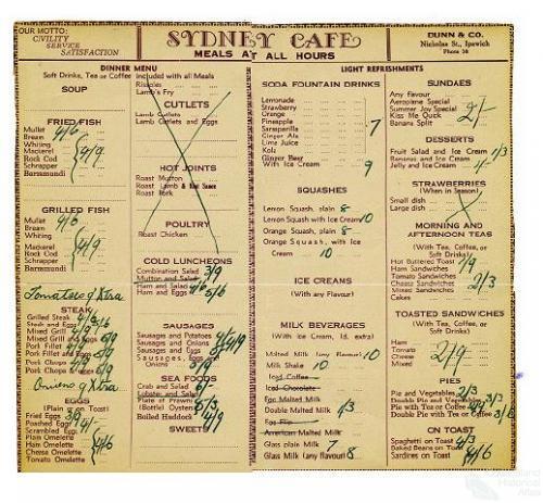Sydney Cafe, Ipswich, menu