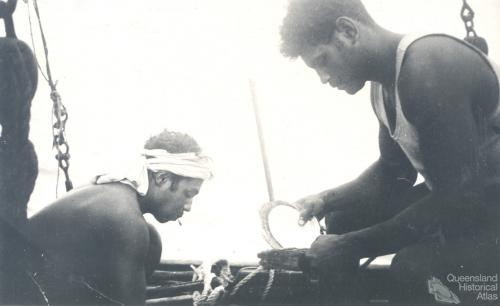 Cleaning pearl shell, c1950