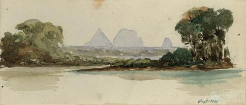 Glasshouse Mountains from the Nth. boat passage, 29 July 1853