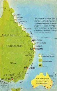 Australian sugar growing and refining sites, c1950