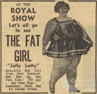 The fat girl, Royal Show, 1956