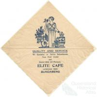 Serviette, Elite Cafe, Bundaberg, c1940