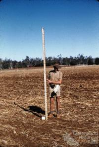Surveying contour bank, Murgon, 1958