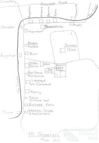 Mud map of Mount Shamrock, identifying residents c1904
