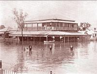 Swimming outside the Globe Hotel, Rockhampton, 1918