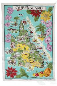 Tea-towel: Map of Queensland, c1960