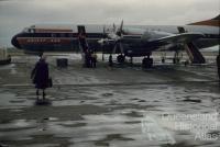 Ansett-ANA Electra aircraft at airport, Eagle Farm, 1960