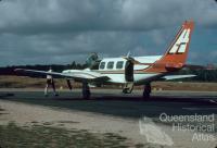 Navaho Chieftan aircraft, Lockhart River airstrip, 1982