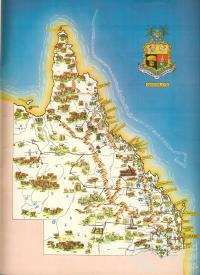Queensland Government map with State coat of arms, 1963
