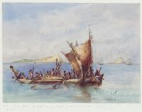 Pacific Ocean, a native canoe meeting strangers off the Murray Islands, 1845