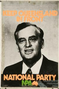 Sir Joh election poster for the National Party of Australia, 1970s