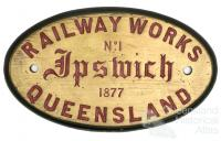 Original plate from Ipswich locomotive, 1877