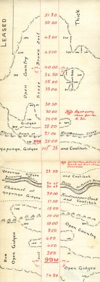 Rail survey plan depicting creek running with artesian water, 1895