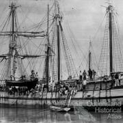 South Sea Islanders arriving in Bundaberg by ship, c1893