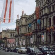 Decorations for the Queen's visit, Treasury Building, Brisbane, 1954