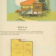 Floor plan and drawing of Queenslander house, 1939