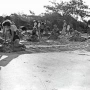 A group of tourists turtle riding at Heron Island, 1938