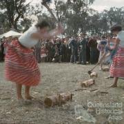 Women's woodchop, Goombungee show, c1960