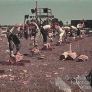 Men's woodchop, Goombungee show, c1960