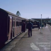 Suburban train with diesel engine and wooden carriages, Chelmer Station, 1972