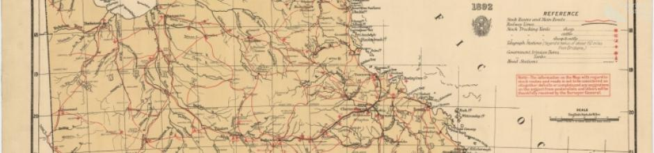 Stock routes and head stations, Queensland, 1892