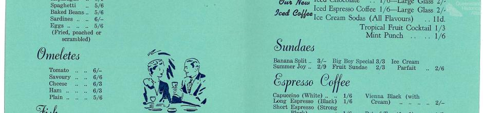 Menu Londy's café, 1962
