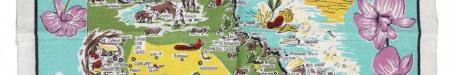 Tea-towel: Map of Queensland, c1960