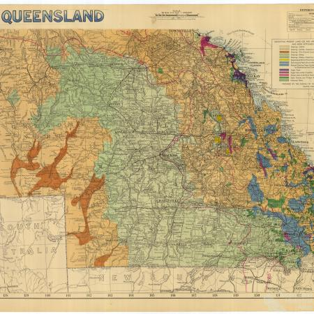 Map of Queensland for Royal visit, 1954